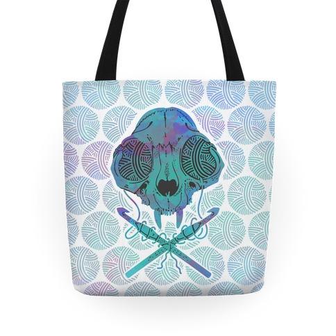 Cat Skull & Crochet Hooks Tote