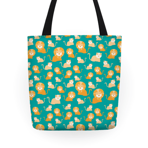 Lion and Lioness Pattern (Teal) Tote
