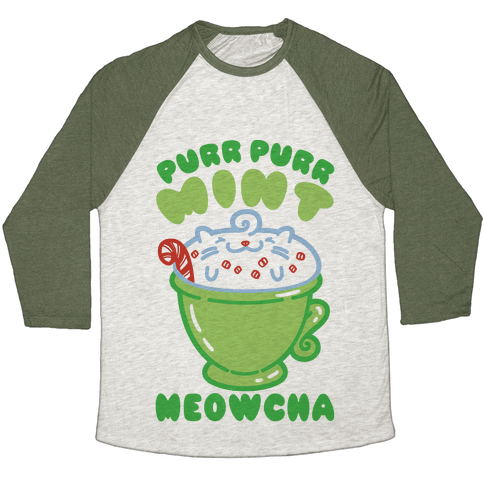 Purr Purr Mint Meowcha Baseball Tee