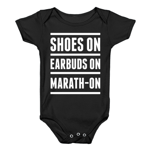 Shoes On Earbuds On Marath-On Baby Onesy
