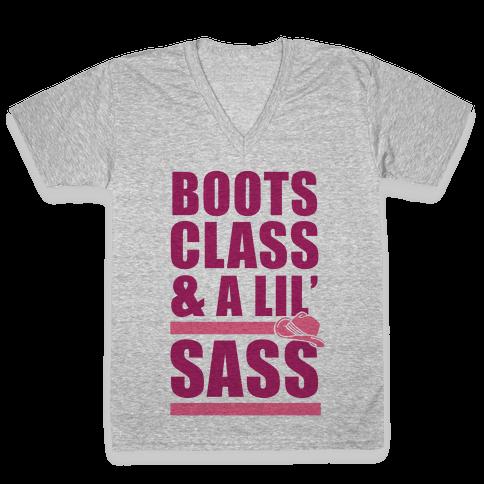 Boots, Class, & A Lil' Sass V-Neck Tee Shirt