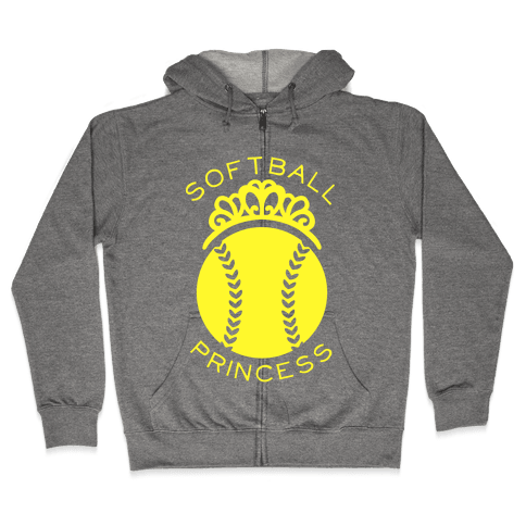 Softball Princess Zip Hoodie