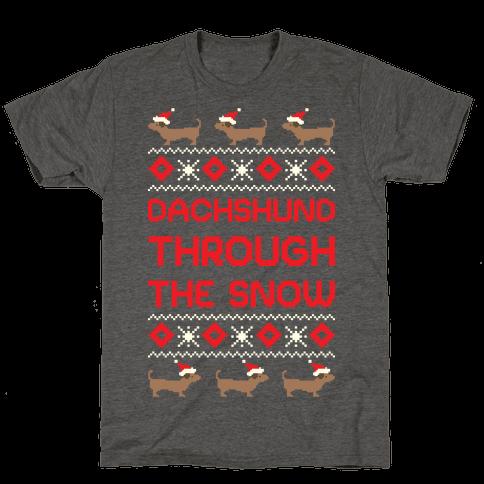 Dachshund Through The Snow Mens/Unisex T-Shirt
