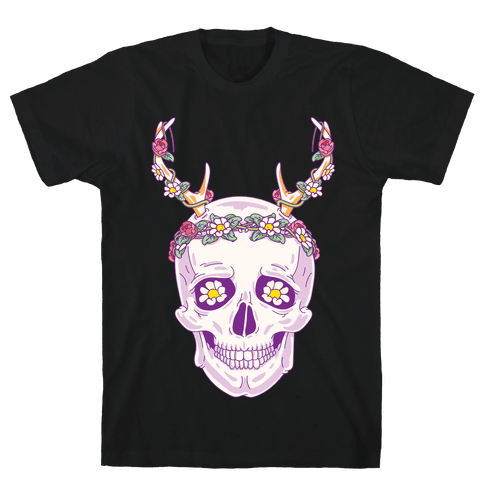 Flower Crown Skull Mens T-Shirt