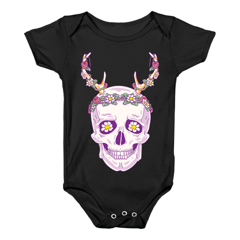 Flower Crown Skull Baby Onesy