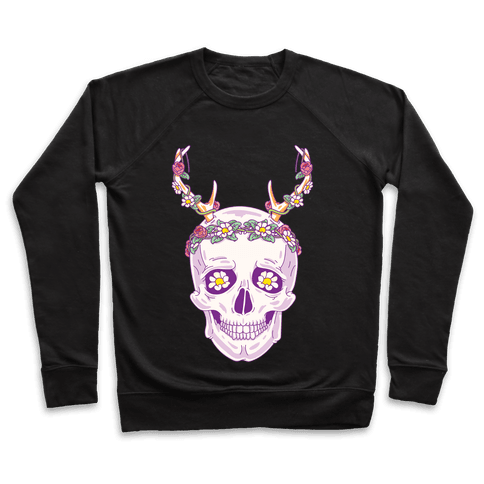 Flower Crown Skull Pullover