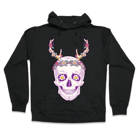 Flower Crown Skull Hooded Sweatshirt