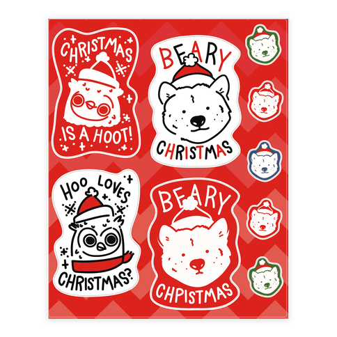 Christmas Animal Pun  Sticker/Decal Sheet