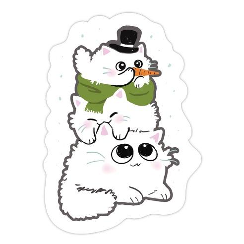 Cat Stack Snowman Die Cut Sticker