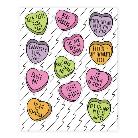 Andy Quotes Conversation Hearts  Sticker/Decal Sheet
