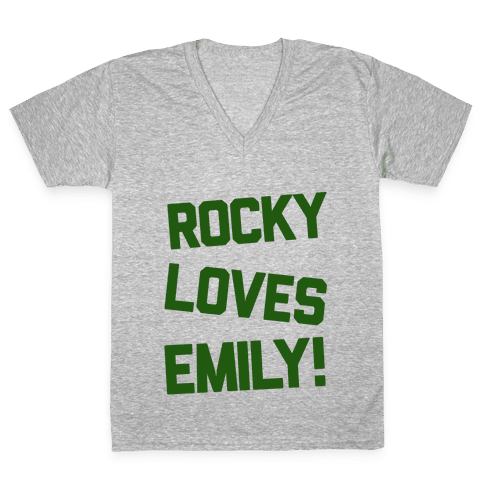 Rocky Loves Emily  V-Neck Tee Shirt