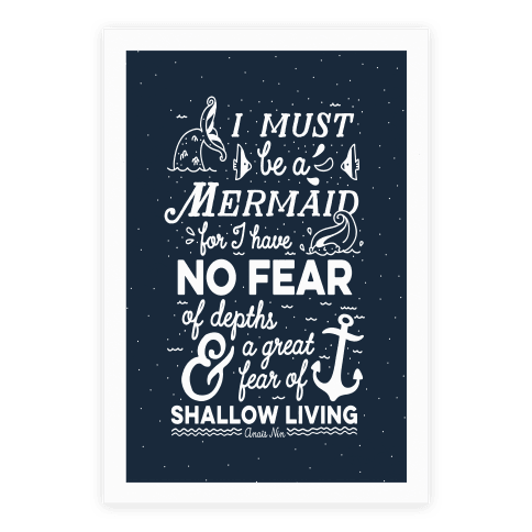 I Must Be A Mermaid Inspirational Quote Poster