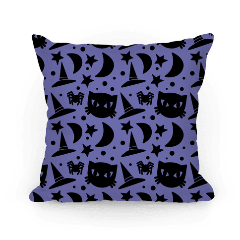 Witchy Halloween Pattern Pillow
