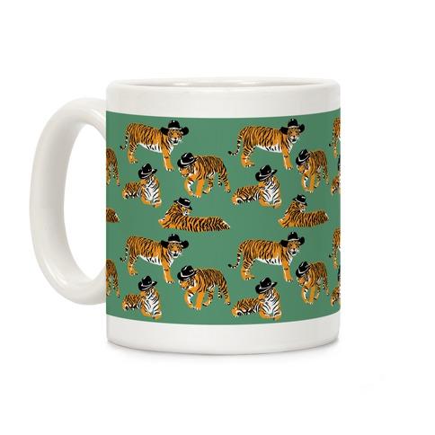 Tigers in Cowboy Hat Pattern Coffee Mug