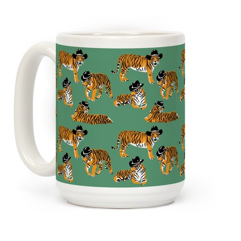 Tigers in Cowboy Hat Pattern Coffee Mug