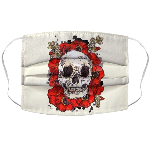 Skull on a Bed of Poppies Red Accordion Face Mask