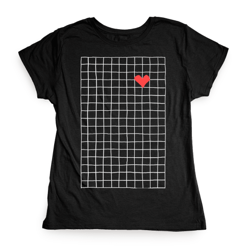 Graph My Heart Grid Pattern Womens T-Shirt