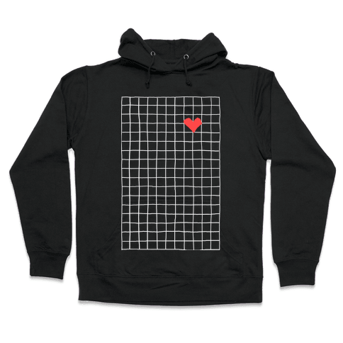 Graph My Heart Grid Pattern Hooded Sweatshirt