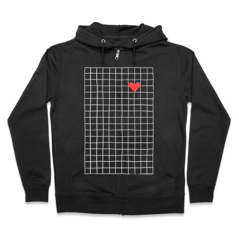 Graph My Heart Grid Pattern Zip Hoodie