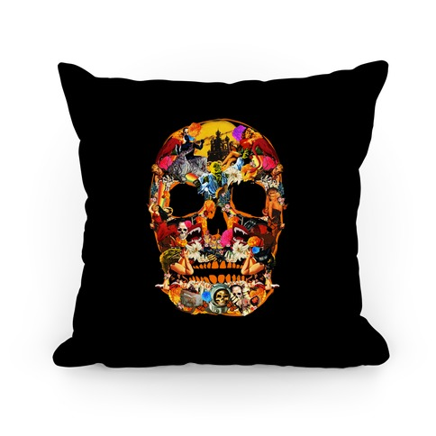 Vintage Skull Collage Pillow