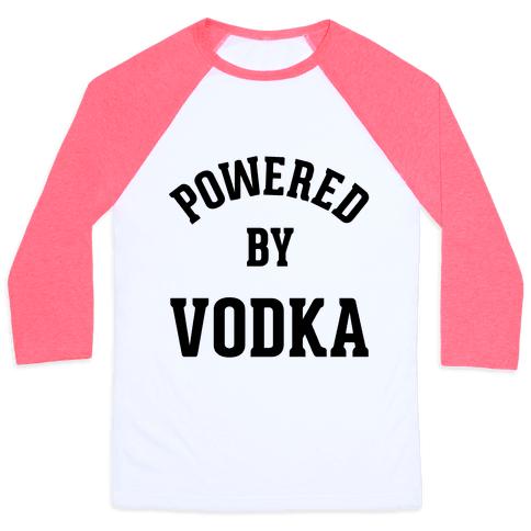 Powered By Vodka Baseball Tee