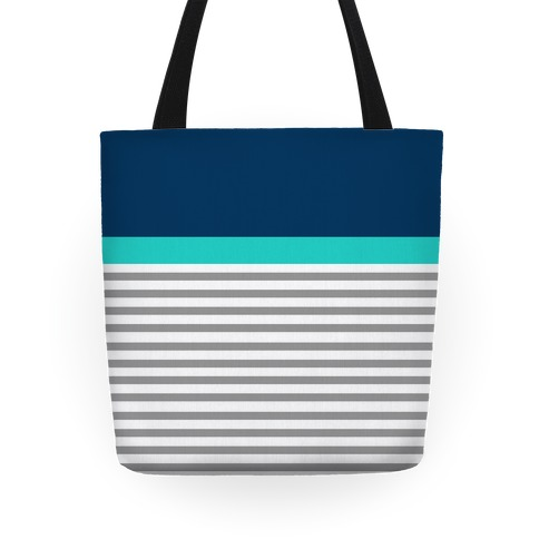 Blue Color Block Stripe Tote