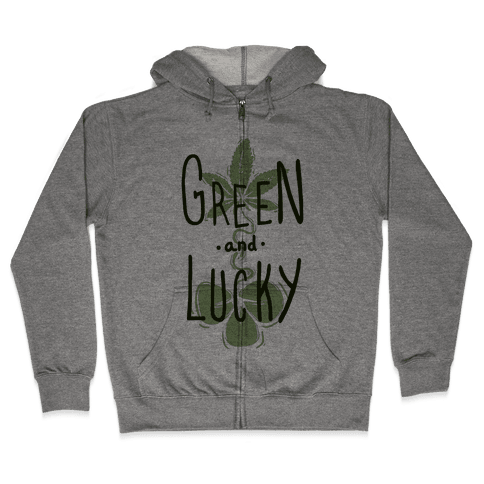 Green and Lucky Zip Hoodie