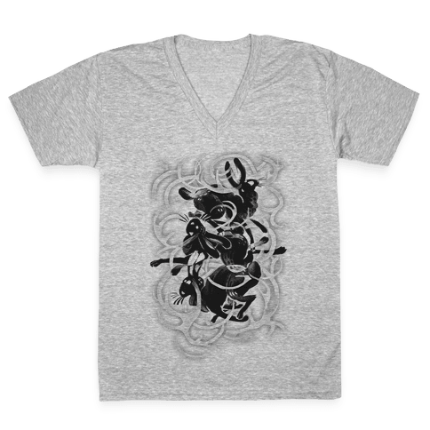 Jackalope In The Woods V-Neck Tee Shirt
