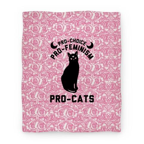 Pro-Choice Pro-Feminism Pro-Cats Blanket