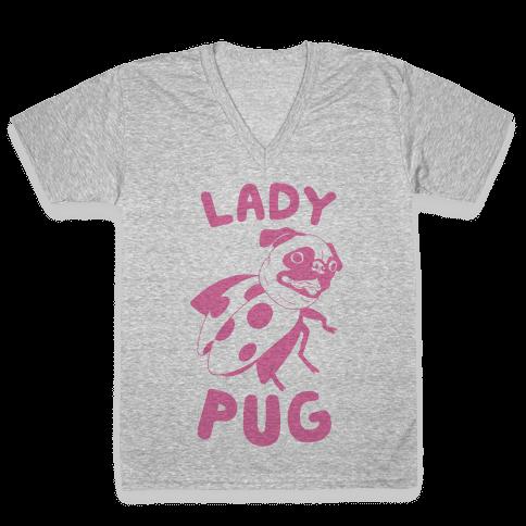 Lady Pug V-Neck Tee Shirt