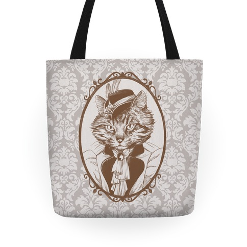 Victorian Portrait of Cat Lady Tote