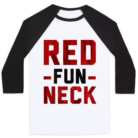 Red Fun Neck Baseball Tee