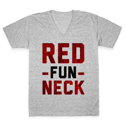 Red Fun Neck V-Neck Tee Shirt