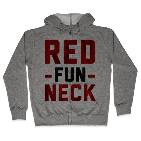 Red Fun Neck Zip Hoodie