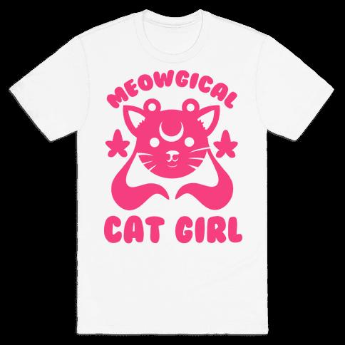 Meowgical Cat Girl Mens T-Shirt