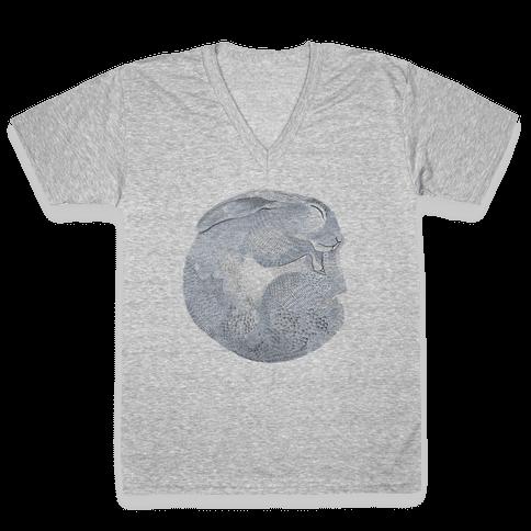 Moon Rabbit V-Neck Tee Shirt