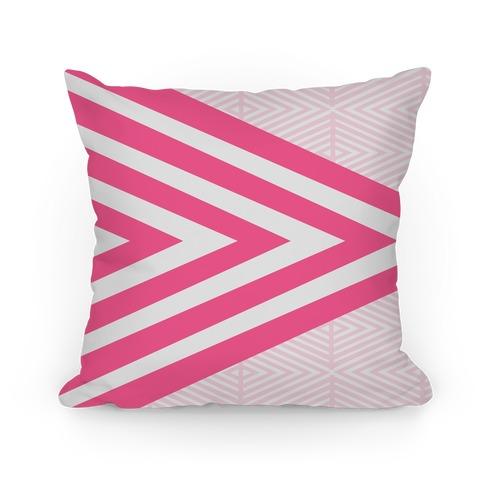 Large Pink Geometric Diamond Pattern Pillow