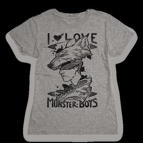 I Love Monster Boys Womens T-Shirt