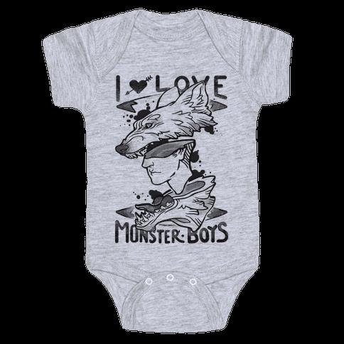 I Love Monster Boys Baby Onesy