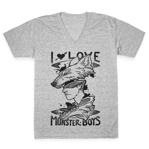 I Love Monster Boys V-Neck Tee Shirt