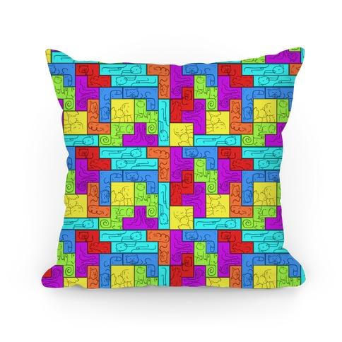 Tetris Cats Pattern Pillow