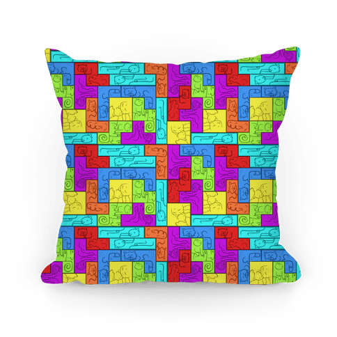 Tetris Cats Pattern Pillow