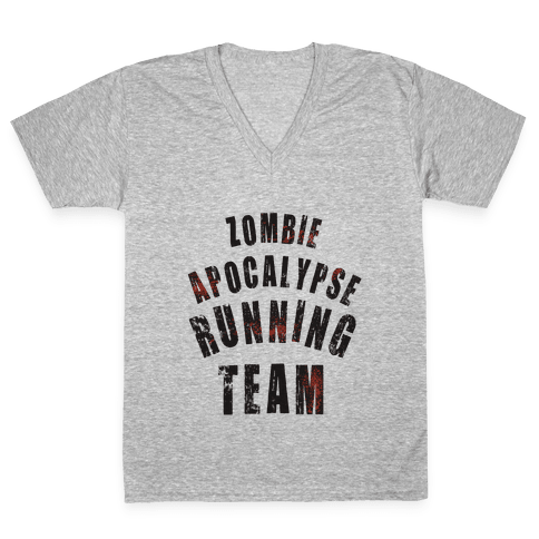 Zombie Apocalypse Running Team V-Neck Tee Shirt