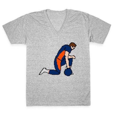 Pixel Tebow V-Neck Tee Shirt