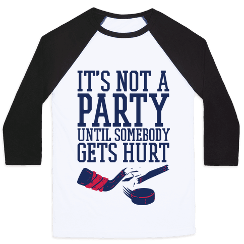 Hockey Party Baseball Tee