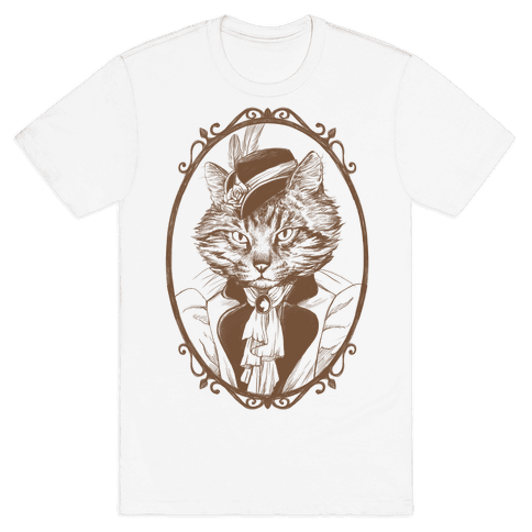 Victorian Portrait of Cat Lady Mens T-Shirt
