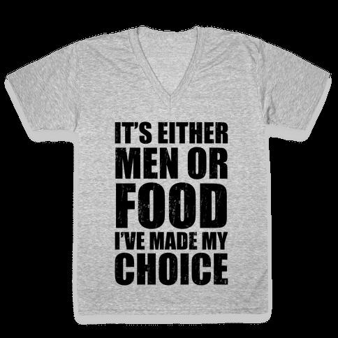 Men Or Food (Tank) V-Neck Tee Shirt