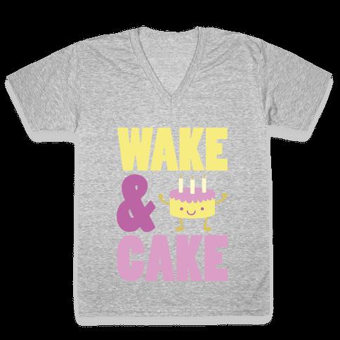 Wake and Cake V-Neck Tee Shirt