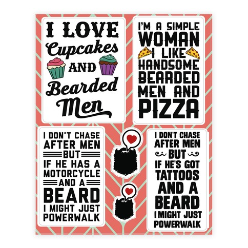 I Love Beards Sticker and Decal Sheet