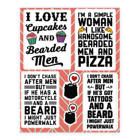 I Love Beards  Sticker/Decal Sheet